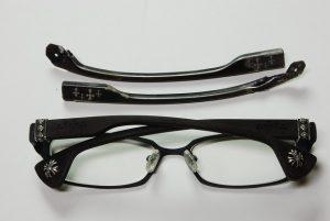 カスタムした、メガネと以前のテンプル