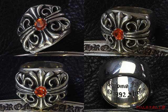 キーパーリングに、オレンジサファイヤは、正規品にも使用されていないので、おそらく、世界で初めてでしょう。