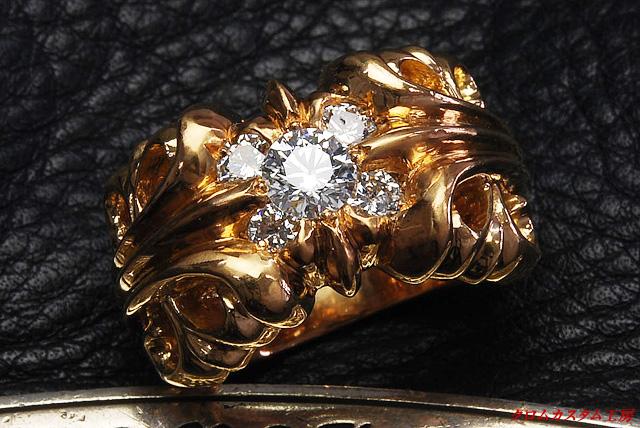 K&Tリング22Kゴールドリングに、正規品クラス(VSクラリティ)以上のダイヤを5石カスタムしました。