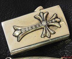 ライタージッポナロー/V1 CHクロスの両面にダイヤモンドをパヴェカスタムしました。