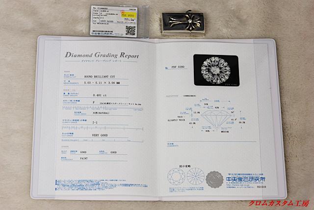 こちらは、使用されているダイヤモンドのクラスを証明する宝石鑑定書です。