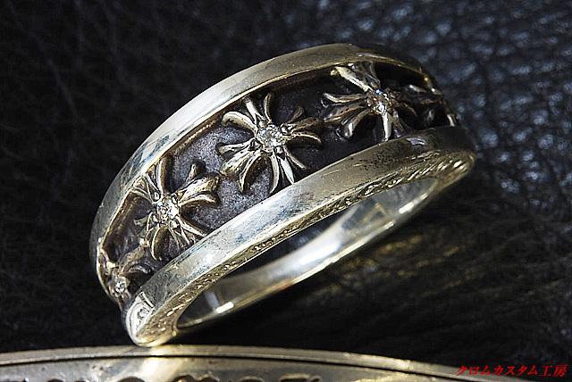 ナローVバンドリング CHクロスにダイヤモンドを5石カスタムしました。