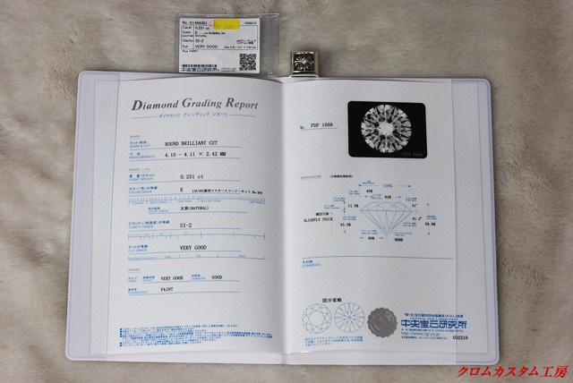ダイヤモンドのクラスを証明する宝石鑑定書です。